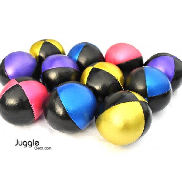 Eleven shiny juggling balls are featured against a white background. The balls range in colours, all of them with black panels, some with pink, purple, gold, and blue.