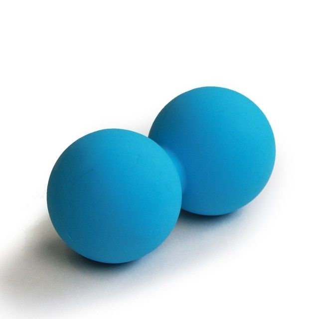 A teal rubber peanut against a white background. It looks similar to rubber balls with a connecting piece.